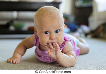 Cute Baby Girl Sucking on Her Fingers