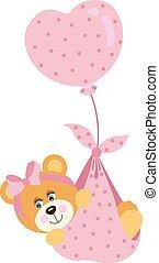 Cute baby girl teddy bear flying with pink heart balloon