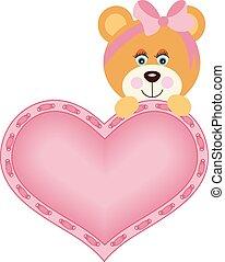 Cute baby girl teddy bear with pink heart