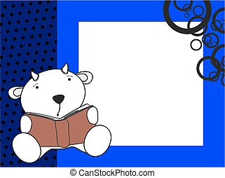 cute baby goat reading cartoon