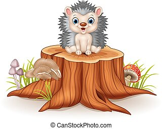 Cute baby hedgehog sitting - Vector illustration of Cute...