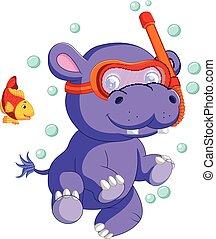 cute baby hippo Cartoon - illustration of cute baby hippo...