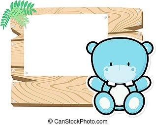 cute baby hippo frame