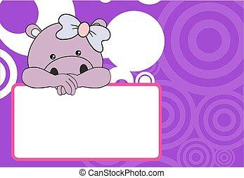 cute baby hippo girl background