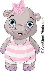 Cute Baby Hippo - Illustration of cute baby hippo girl