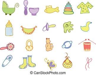Hand drawn baby icons