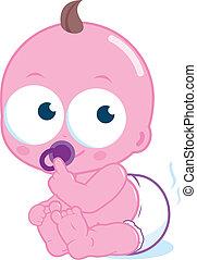 Cute baby in a dirty diaper