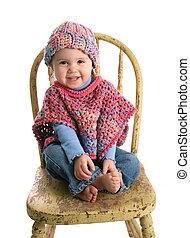 Cute baby in handmade clothing - Adorable baby girl wearing...