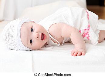 cute baby in hat - portrait of cute little baby in a funny...