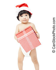cute baby in Santa cap holding a gift box