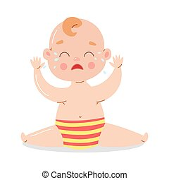 Cute baby in striped underpants sitting and crying. Vector illustration in flat cartoon style.