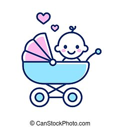 Cute baby in stroller icon