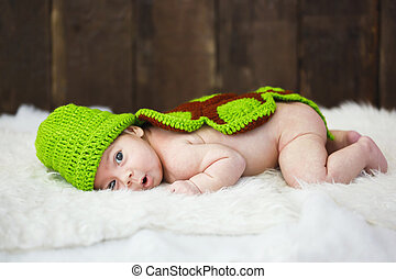 Cute baby in studio