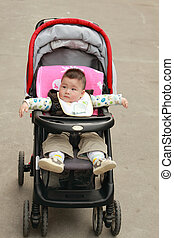 cute baby in the stroller