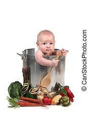 Cute Baby Infant Boy in a Chef Pot Prop