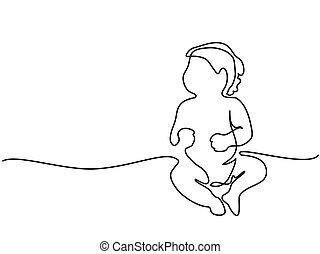 Cute baby is sitting on the white background