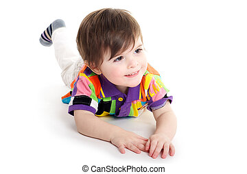 Cute baby kid on the floor