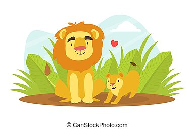 Cute Baby Lion and Parent, Happy Wild African Animals Family Cartoon Vector Illustration