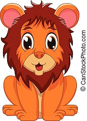 lion - cute baby lion cartoon of vector