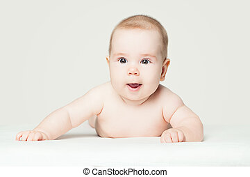 Cute baby lying on white background (2 months old)