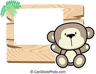 cute baby monkey and sign board