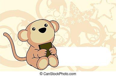 cute baby monkey book background