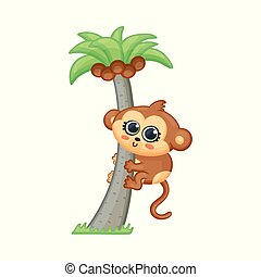 Cute baby monkey climbing on palm tree, kawaii cartoon vector illustration.