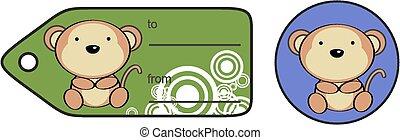 cute baby monkey giftcard sticker