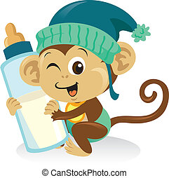Cute baby monkey holding a large milk bottle.