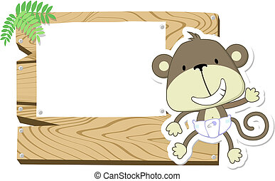cute baby monkey signboard