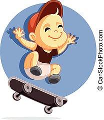 Cute Baby on a Skateboard Vector Cartoon