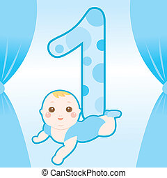 cute baby one year old shower card