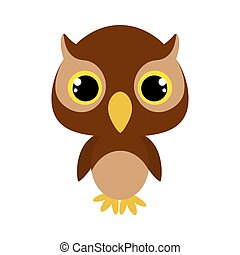 Cute baby owl. Flat vector stock illustration on white background