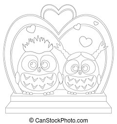 Cute baby owl in love black and white wedding poster, heart, arc, stair