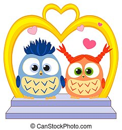 Cute baby owl in love wedding poster, heart, arc, stair