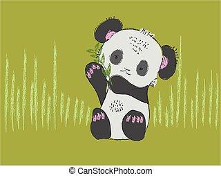 Cute baby panda bear hand drawn vector illustration