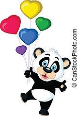 cute Baby panda holding balloon's
