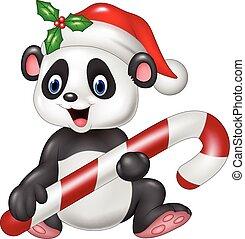 Cute baby panda holding candy