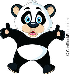 cute Baby panda rising his hand - vector illustration of...