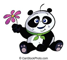 cute baby panda with flower