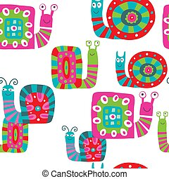 Cute baby pattern with snails on white background
