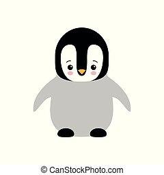 Cute Baby Penguin standing on white background flat design vector illustration.