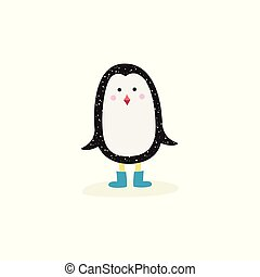 Cute baby penguin with blue winter boots standing in falling snow