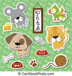 cute baby pets set - set of cute baby animals stickers on ...
