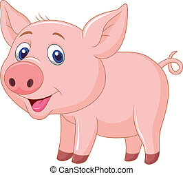 Cute baby pig cartoon - Vector illustration of cute baby pig...