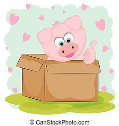 Cute Baby pig is sitting on a box.