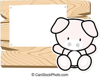 cute baby piglet frame