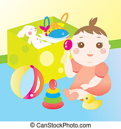 cute baby playing toy