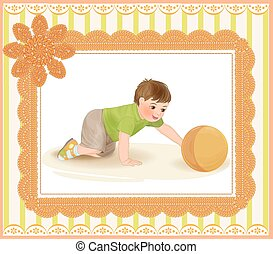 cute baby playing with ball