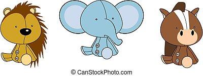 cute baby plush animals cartoon sitting collection set2